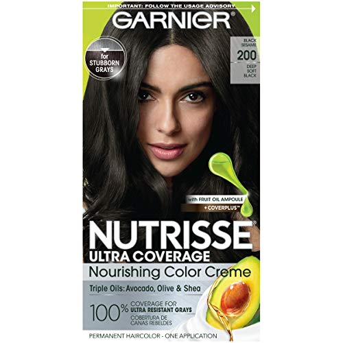 Garnier Nutrisse Ultra Coverage Hair Color, Deep Soft Black Hair Dye (Black Sesame) 200, Pack of 1