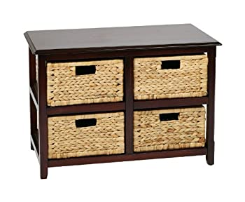 OSP Home Furnishings Seabrook 2-Tier 4-Drawer Storage Unit with Natural Baskets Espresso