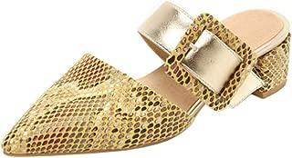 Melady Women Fashion Mules Block Heels Slide Sandals Pointed Toe