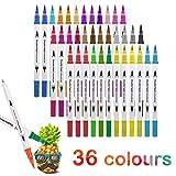 Juego de 36 rotuladores para colorear con base de agua, punta fina, para niños o adultos, para dibujar bocetar, colorear resaltar y subrayar 36 colores