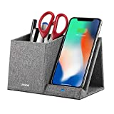 Lecone 10W Fast Wireless Charger with Desk Organizer Qi Certified Fabric Induction Charger Stand Pen Pencil Holder Compatible iPhone SE 2020/11/Xs MAX/XR/XS/X/8/8, Samsung S20/S10/S9/S8/Note 10, Grey