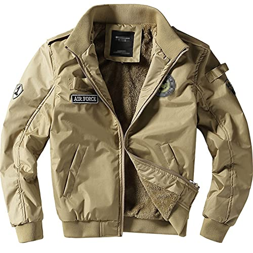 Hombres Abrigo de vuelo de invierno cálido forro polar grueso vuelo Stand Collar Slim Fit Bomber Jacket, caqui, L