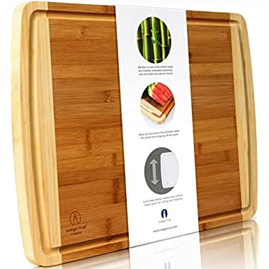 Indigo True Extra Large Organic Bamboo Cutting Board (17.5 x 13.5 in) with Juice Groove