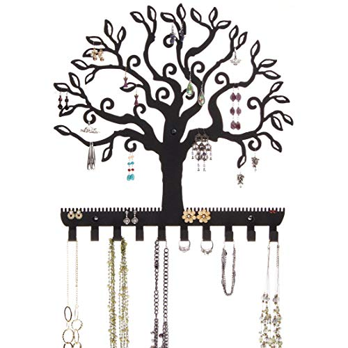 Angelynn's Stud Dangle Earring Holder Wall Mount Hanging Jewelry Organizer Display Necklace Jewelry Storage Rack, Tree of Life Black