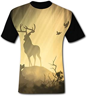 Men's 3D Printed Casual T-Shirt Fantasy Forest Deer Short Sleeve Summer Stylish Tees