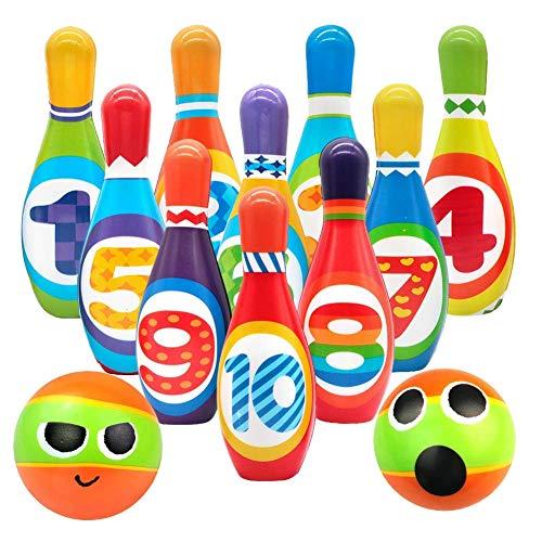 ACAMPTAR Kinder Schaum Bowling Set, 10 Innen Bunte Weiche Stifte 2 Bowlingkugeln, Kleinkinder Spielzeug Gedruckt mit Nummer, Sport Geschenk für Baby Jungen M?Dchen Alter