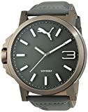 Puma Ultrasize - Reloj análogico de cuarzo con correa de cuero para hombre, color gris