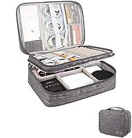 収納ポーチ 小物 PC周辺 収納ケース トラベルポーチ 3層設計 充電器収納ポーチUSBケーブル 便利旅行・出張バッグ