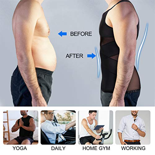 best men's compression shirts for slimming - TAILONG Men's Compression Shirt for Body Shaper Slimming Vest Tight Tummy Underwear Tank Top (Black, Medium)