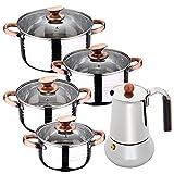 Bateria de cocina 8 piezas apta para induccion SAN IGNACIO Altea en acero inoxidable con cafetera...