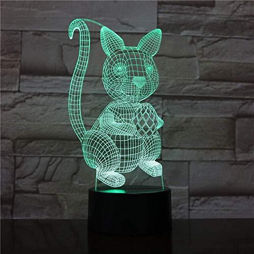 3D Illusion LED Night LightCat animal7 Colorful Touch USB Gifts Accesorios de luz Lámpara de mesa Cumpleaños para niños Regalos de vacaciones-16 color remote control