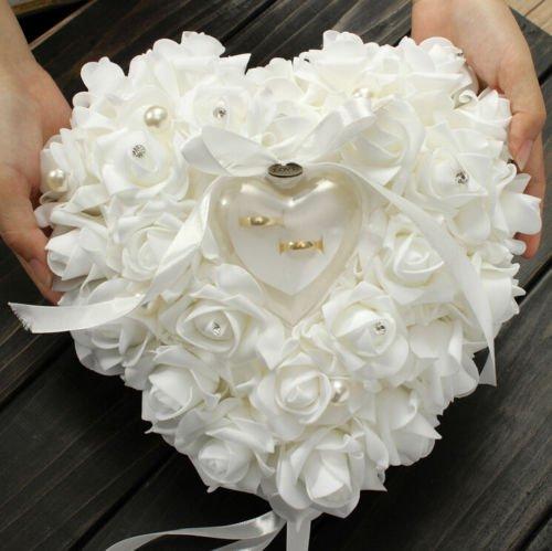 ZJchao Kissen für Hochzeitsringe, 15 x 13 cm, Herzform, Geschenk, Ringbox, romantisch, Rose, weiß, Einheitsgröße