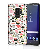 ZQ-Link Sushi Case for Galaxy S9 Plus, Raised Edges Scratch Resistant Lightweight Flexible Soft TPU Rubber Silicone Cell Phone Cover for Samsung Galaxy S9+ Seamless Sushi Sashimi Pattern