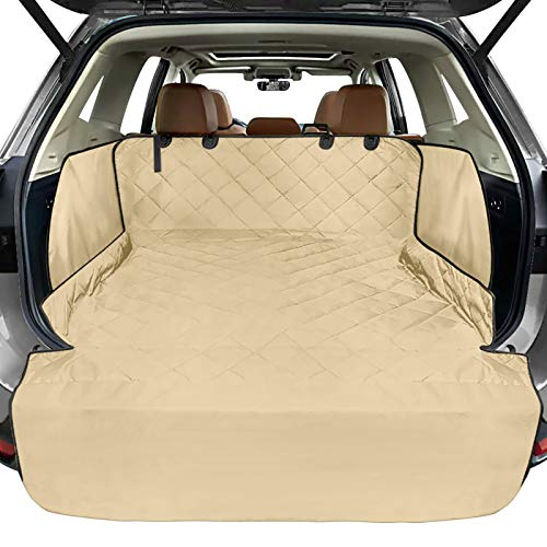 FunniPets Cargo Liner for SUV, Water-Resistant Dog Cargo Cover with Side Walls Protector and Bumper Flap, Non-Slip Backing, Quilted Pet Seat Cover, Large Size Universal Fit, Khaki