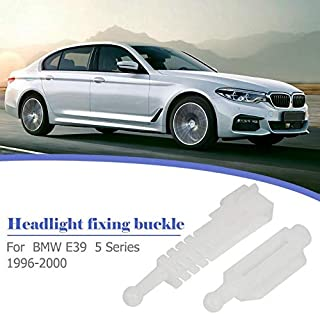 Headlight Mounting Bracket for BMW Car Headlight Installation Rack Adjuster Lamp Holder Repair Kit Set for E39 5 Series 96-00 (White)