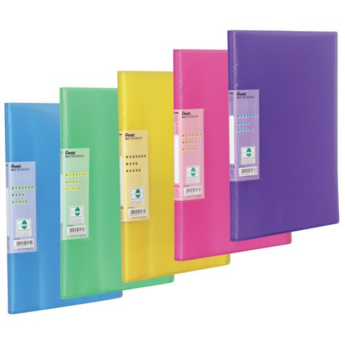 Pentel Display Book Vivid 30 pockets A4 size Pack of 5 assorted coloured folders