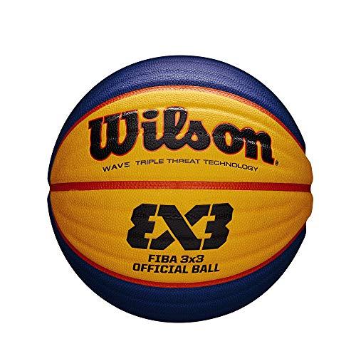 Wilson WTB0533XB Pelota de Baloncesto Fiba 3x3 Caucho Interior y Exterior, Adultos Unisex, Azul/Amarillo, 6