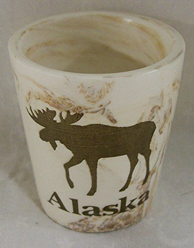 Alaskan Moose Cream Marble Stoneware 1 oz. Shot Glass by Arctic Circle