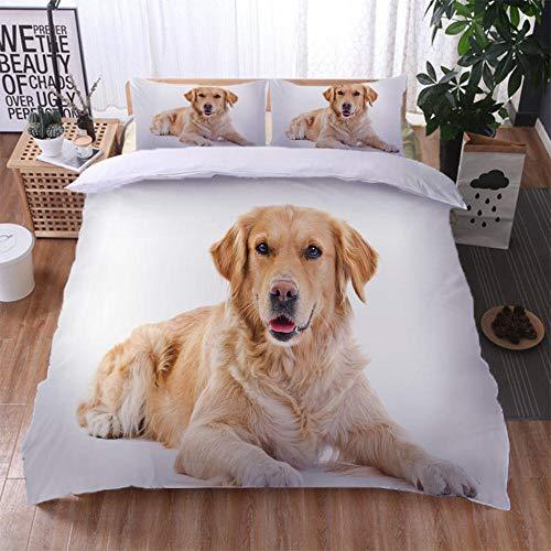 zpangg 3 Piece Bed Set Cute Golden Retriever Duvet Cover Soft Microfiber Single Double King Size Bed 3 Piece Set 2 X Pillowcases 1 X Quilt Case 135×210Cm