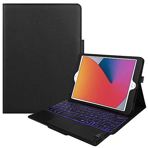 7色バックライト iPad10.2/ Pro10.5 / Air3 キーボード iPadキーボード レザーケース キーボードタッチパッド付き Bluetooth キーボード iPadワイヤレスキーボード スタンド機能 カバー (ブラック)