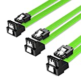 QIVYNSRY 3PACK SATA Cable III 3 Pack 90 Degree Straight to Right Angle 6Gbps HDD SDD SATA Data Cable with Locking Latch 50cm 18 Inch for SATA HDD, SSD, CD Driver, CD Writer, Green