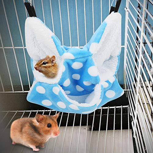 SALUTUYA Cama Colgante para hámster Multifunción Mascota cálida y fácil de Usar Hamaca para hámster para Planeador de azúcar(Blue)