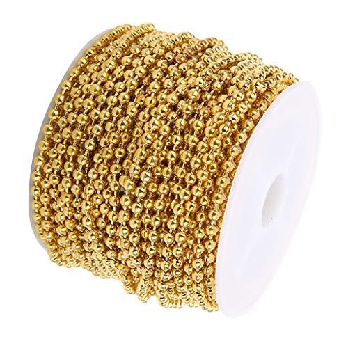 Fenteer 10 Yards / 9m Edelstahlkette Kugelkette aus Edelstahl Rollo Kette Perlenkette Halsketten Dekoration Schmuck Brillenketten Bedienkette Ersatzkette - Golden