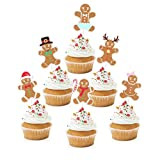 18pcs Gingerbread Man Xmas Cupcake Toppers - Merry Christmas Glitter Gingerman Cupcake Supplies - Baby Shower Boys Girls Birthday Party Dessert Picks Decorations