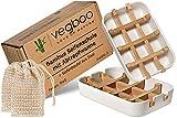 vegboo® Bambus Seifenschale Set - 100% Plastikfreie 2er Seifenhalter Box in Weiß mit Abtropfgitter...