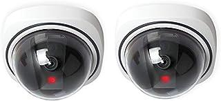 フェイク ダミー カメラ ドーム型 防犯 2セット セキュリティ 偽装 監視カメラ 本物そっくり 赤外線 LCDライト CCTV 常時点滅 高い防犯効果 不審者を常に威防 設置簡単 屋内外両用 センサー無い ホワイト
