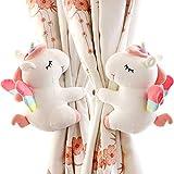 SHDZKJ 1 paire d'embrasses de rideau licorne dessin animé animaux pour filles enfants chambre à coucher décoration de fenêtre (blanc)