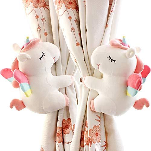 SHDZKJ 1 Paar Einhorn Vorhang Schnalle Einhorn Stofftiere Cartoon Tier Vorhang Halter für Mädchen Kinder Kinderzimmer Fensterdekoration weiß