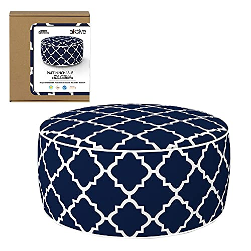 Aktive 79033 - Puff hinchable, Puff exterior, Reposapiés hinchable, Ø53x23 cm, color mosaico azul, Tejido impermeable, soporta 100 kg, mobiliario jardín exterior, Aktive