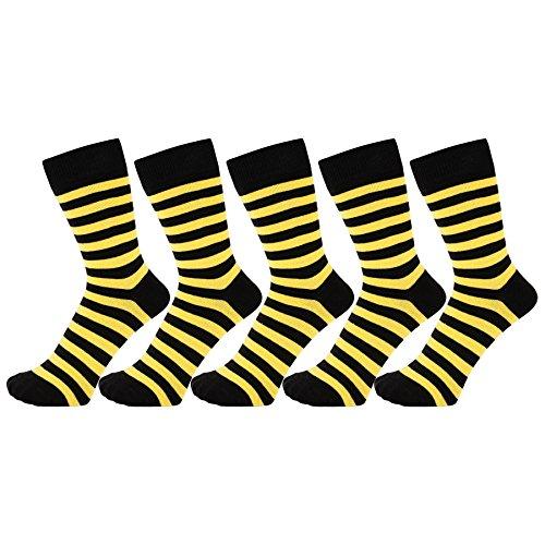 ZAKIRA Elegante Gestreifte Socken aus Feinster Gekämmter Baumwolle für Damen und Herren 5 Pack (Gelb/Schwarz, 39-46)