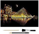 Scratch Art Rainbow Painting Paper, Sketch Pad DIY Night View Scratchboard for Kids & Adults, Engraving Art & Craft Set, Scratch Painting Creative Gift, 16'' x 11.2'' with 3 Tools (Louvre)