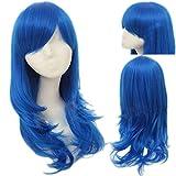 Juvia Lockser Wig Side Bangs Long Great Wavy Curly Blue Hair Cosplay Party Wig