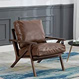 Mid-Century Retro Modern PU Leather Lounge Chair, Comfy Upholstered Back Wooden Arm Chair for Living Room/Bedroom/Hosting Room (Dark Brown)