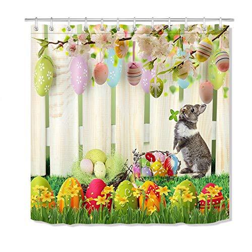 qhtqtt Duschvorhang Osterhase Polyester Stoff Eier Kaninchen Zaun Blumen Wasserdicht Bad Bad Gardinen Wohnkultur 180X200 cm A