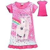 Adorable Kids Pyjama Robe Licorne Chemise De Nuit Animal Étoile Arc-en-imprimé Cartoon Cotton Robes Casual pour Les Filles
