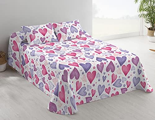 DOMAINET - Colcha Bouti Hearts Etiquette - Color: Rosa (Cama 90cm + cojín 40x60cm)