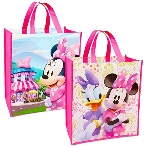 Disney Minnie Mouse Tote Bags Value Pack -- 2 Reusable Large Tote Grocery Party Bags Featuring Minnie Mouse
