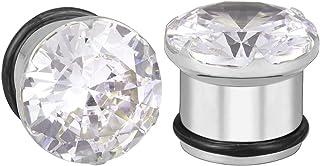ZeSen Jewelry Orecchio Plug Gauge Acciaio Inossidabile Dilatatore a Tunnel Espansore Barella Trasparente CZ con O-Anello P...