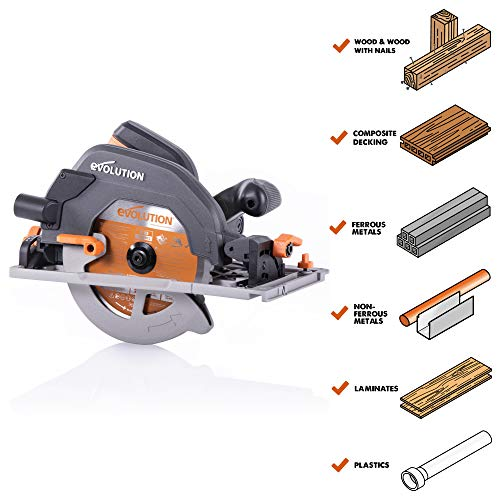 Evolution Power Tools R185CCSX+ Multi-Material Circular Saw, 1600 W, 110 V-Site Use