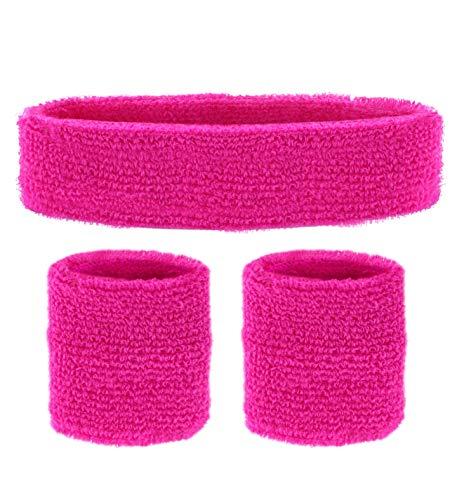 Widmann 05832 - Neon Schweißbänder, Stirnband und 2 Armbänder, pink, 80er Jahre, Kleidungszubehör, Retro Style, Sport- und Fanwelt, Disco, Mottoparty, Karneval