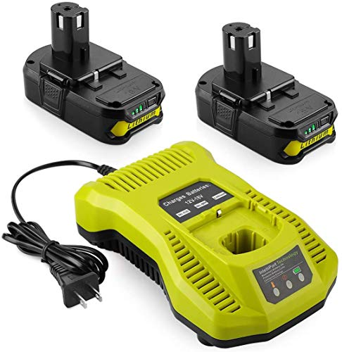 Powilling 2Pack 3000mAh Ryobi 18V Lithium Battery Pack Replacement for Ryobi 18-Volt ONE+ P104 P105 P102 P103 P107 P108 Cordless Tools Battery with Ryobi P117 Replacement Charger