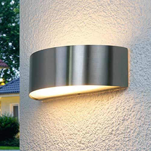 Lindby LED Wandleuchte außen 'Nadia' (spritzwassergeschützt) (Modern) in Alu aus Edelstahl (1 flammig, A+, inkl. Leuchtmittel) - LED-Außenwandleuchten Wandlampe, Led Außenlampe, Outdoor Wandlampe für