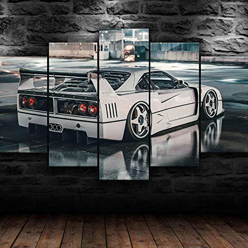 TOPRUN Cuadros Decoracion Salon Modernos 5 Piezas Lienzo Ferrar F40 Rare Classic Super Car HD Abstracta Pared Modulares Sala De Estar Impresión Artística Dormitorios Decoración De Pared Póster