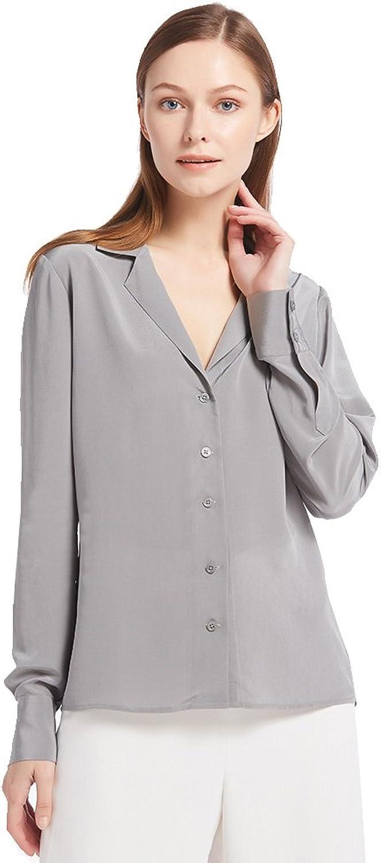 LilySilk Women's 100% Silk Blouse Long Sleeve V Neck Ladies Shirt 16 MM Pure Silk