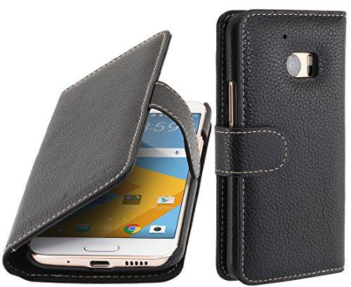 StilGut Talis, Tasche aus Leder für HTC 10 mit Fächern für Kredit- oder Visitenkarten, Schwarz