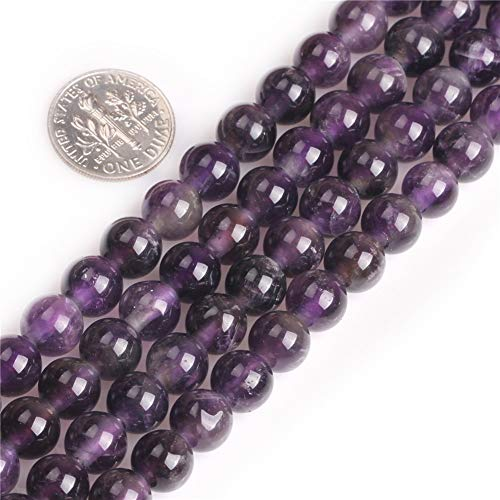 SHGbeads Perles en améthyste naturelle pour la fabrication de bijoux - Rondes - 8 mm - Gros trou de 1,5 mm - 2 mm - 38,1 cm